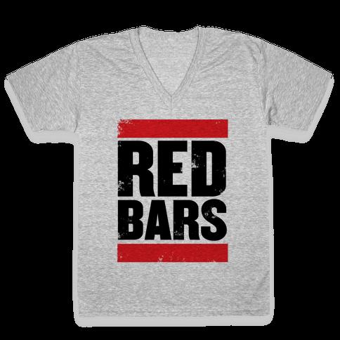 Red Bars V-Neck Tee Shirt
