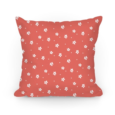 Coral Dainty Floral Pattern Pillow
