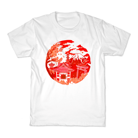 Japan's Mount Fuji and Shinto Shrines Inside the Rising Sun Kids T-Shirt