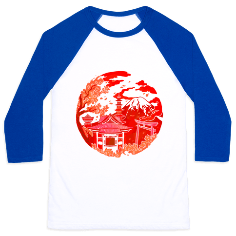 Japan's Mount Fuji and Shinto Shrines Inside the Rising Sun Baseball Tee