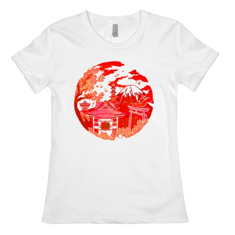 Japan's Mount Fuji and Shinto Shrines Inside the Rising Sun Womens T-Shirt