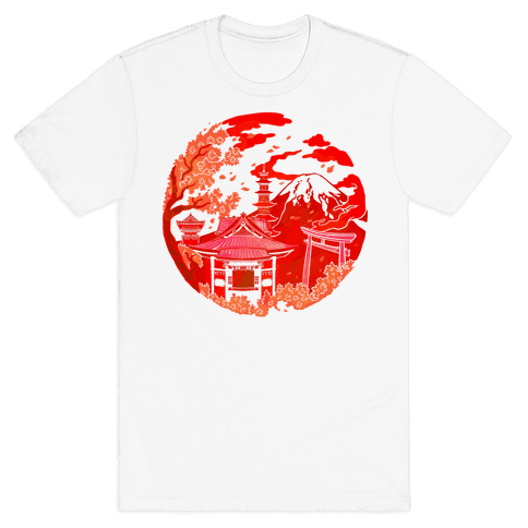 Japan's Mount Fuji and Shinto Shrines Inside the Rising Sun Mens T-Shirt