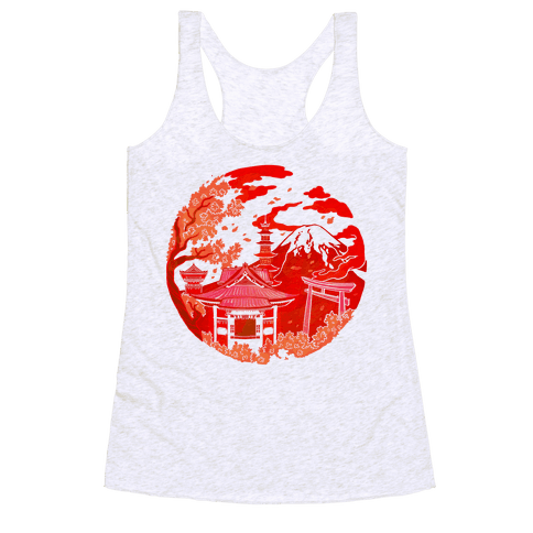 Japan's Mount Fuji and Shinto Shrines Inside the Rising Sun Racerback Tank Top