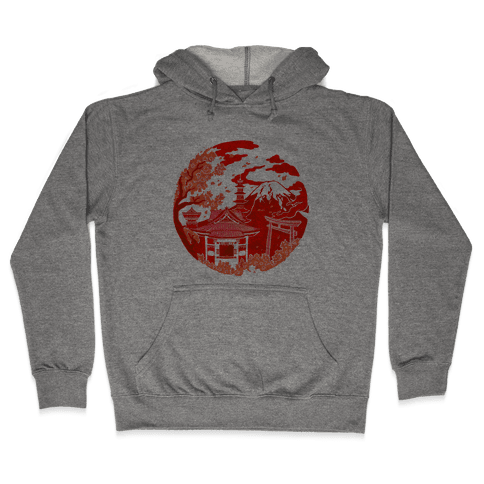 Japan's Mount Fuji and Shinto Shrines Inside the Rising Sun Hooded Sweatshirt