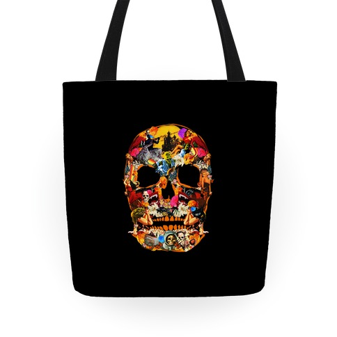 Vintage Skull Collage Tote