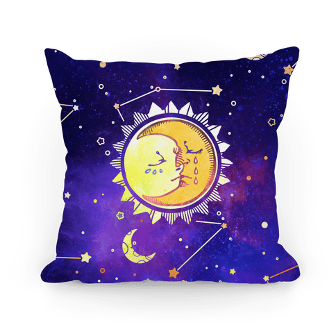Sun and Moon Faces Pillow