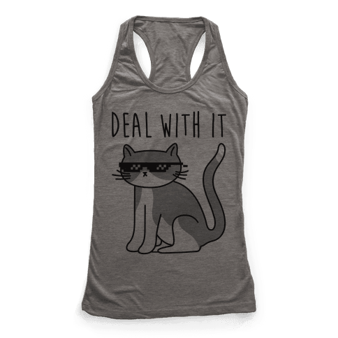 Deal With It Cat Racerback Tank Top