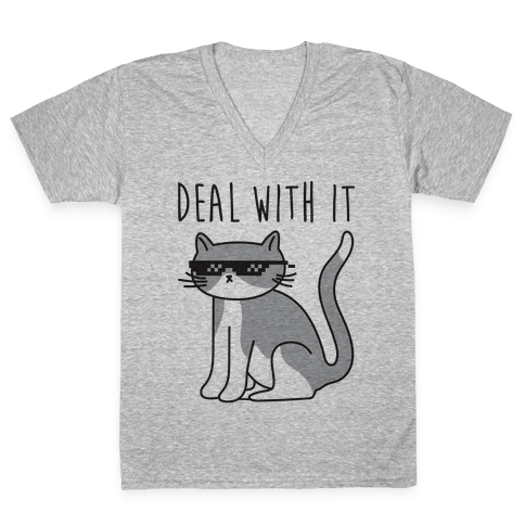 Deal With It Cat V-Neck Tee Shirt