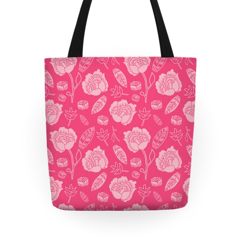 Floral and Leaves Pattern (Pink) Tote