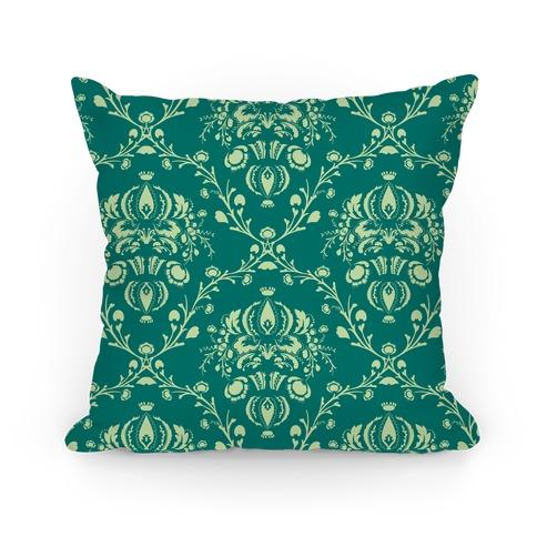 Green Damask Floral Pattern Pillow Pillow