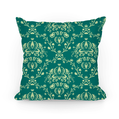 Green Damask Floral Pattern Pillow