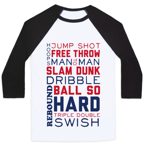 Basketball Typographic (Red and Blue) Baseball Tee