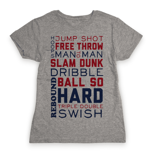Basketball Typographic (Red and Blue) Womens T-Shirt