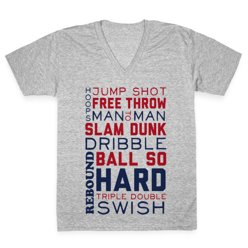 Basketball Typographic (Red and Blue) V-Neck Tee Shirt