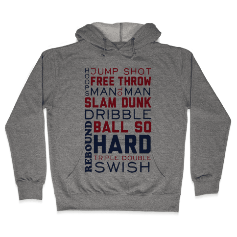 Basketball Typographic (Red and Blue) Hooded Sweatshirt