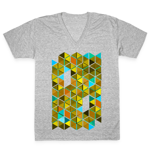 Colorful Tiles V-Neck Tee Shirt