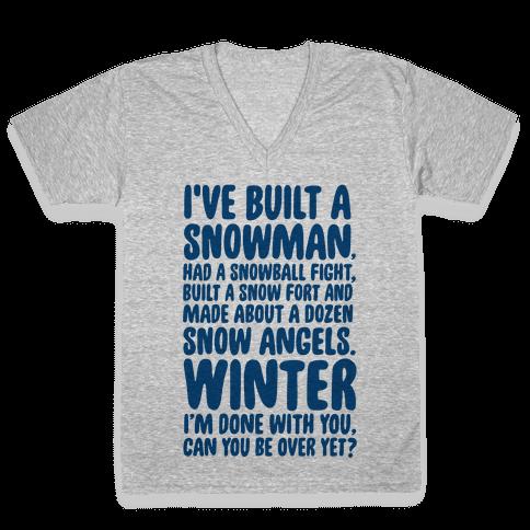 Over Winter Time V-Neck Tee Shirt