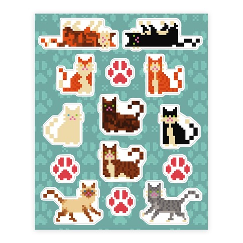 Cute Pixel Kitty Cat Sticker and Decal Sheet