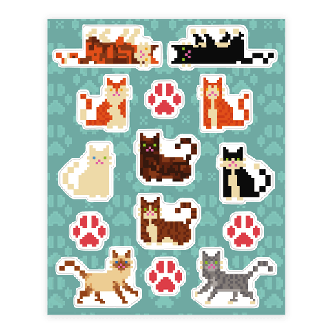 Cute Pixel Kitty Cat  Sticker/Decal Sheet