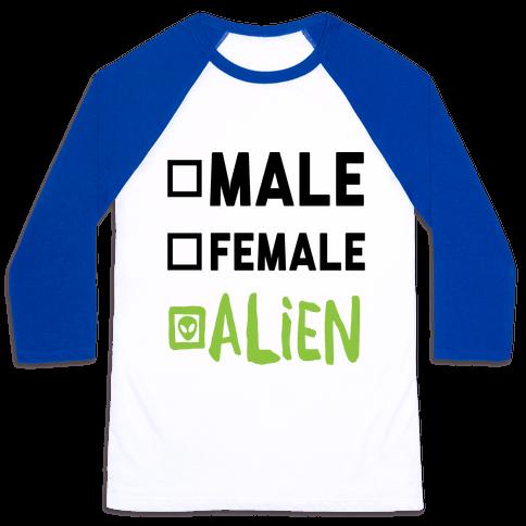 Male Female Alien Baseball Tee