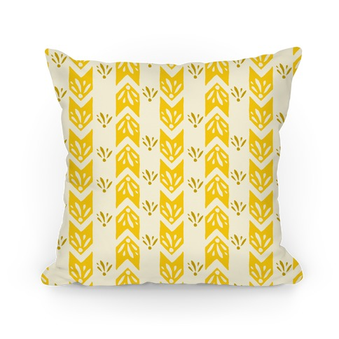 Yellow Floral Chevron Pattern Pillow