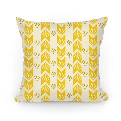 Yellow Floral Chevron Pattern Pillow