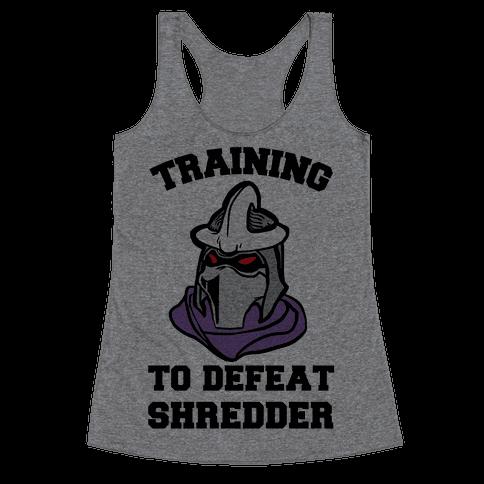 Training To Defeat Shredder Racerback Tank Top