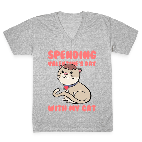 Spending Valentine's Day With My Cat V-Neck Tee Shirt