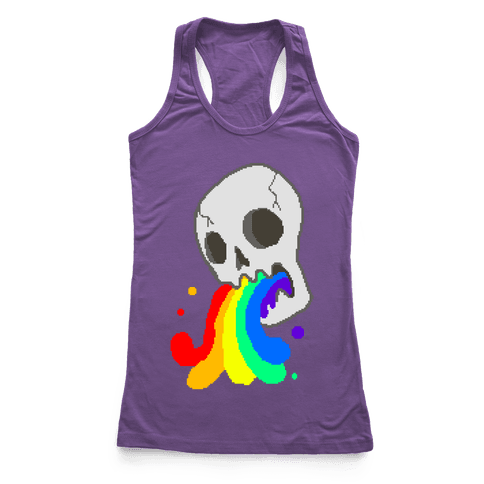White Skull Wasted (8-bit) Racerback Tank Top