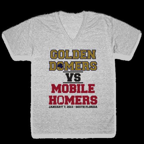 Golden Domers Vs Mobile Homers  V-Neck Tee Shirt