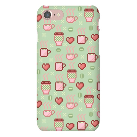 Pastel Coffee Pixel Art Pattern Phone Case