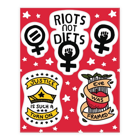 Hand Drawn Style Feminist Sticker and Decal Sheet
