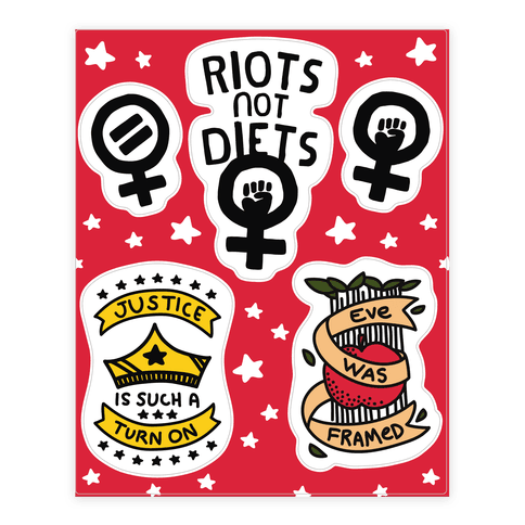 Hand Drawn Style Feminist  Sticker/Decal Sheet