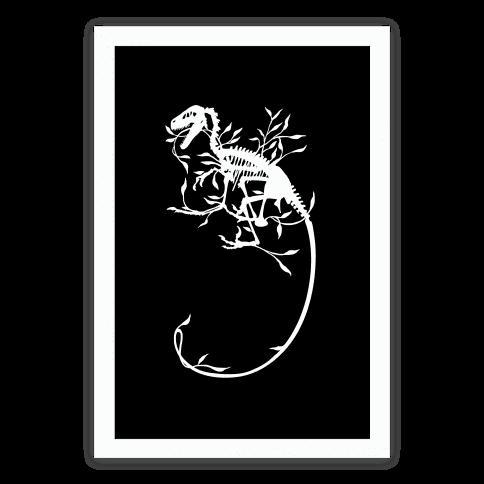 Floral Dinosaur Poster