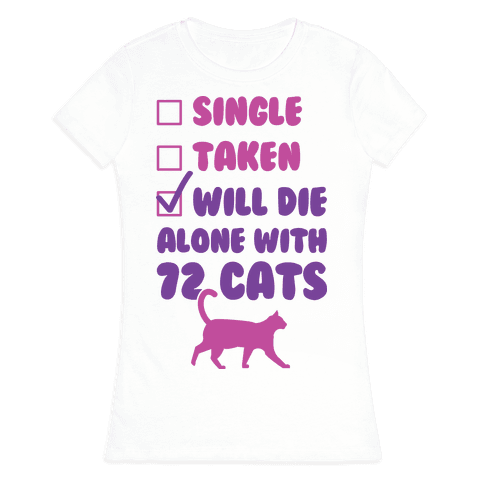 Will Die Alone With 72 Cats Womens T-Shirt