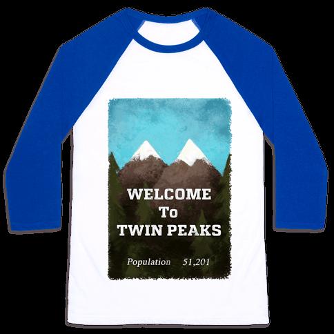 Vintage Twin Peaks Travel Sign Baseball Tee