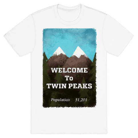 Vintage Twin Peaks Travel Sign Mens T-Shirt