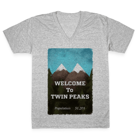 Vintage Twin Peaks Travel Sign V-Neck Tee Shirt