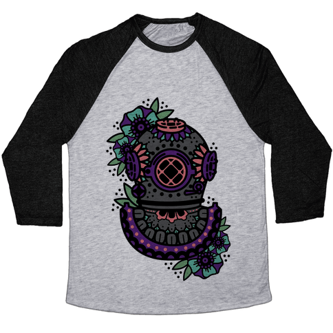 Floral Diving Helmet Baseball Tee