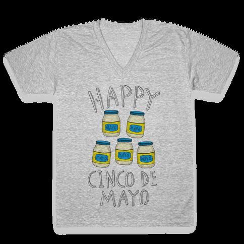 Happy Cinco De Mayo (Mayo Jars) V-Neck Tee Shirt