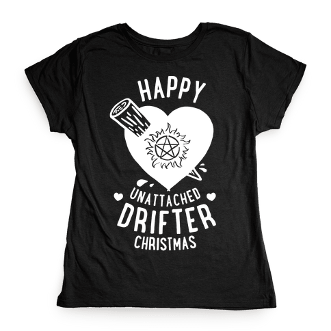 Happy Unattached Drifter Christmas Womens T-Shirt