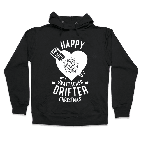 Happy Unattached Drifter Christmas Hooded Sweatshirt