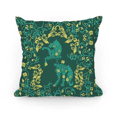 Equestrian Floral Pattern Pillow