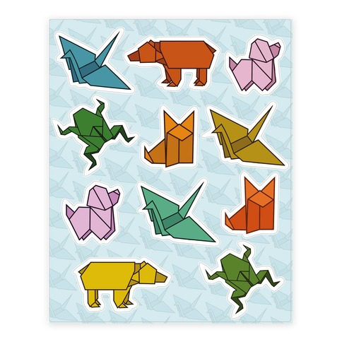 Origami Animal Sticker and Decal Sheet