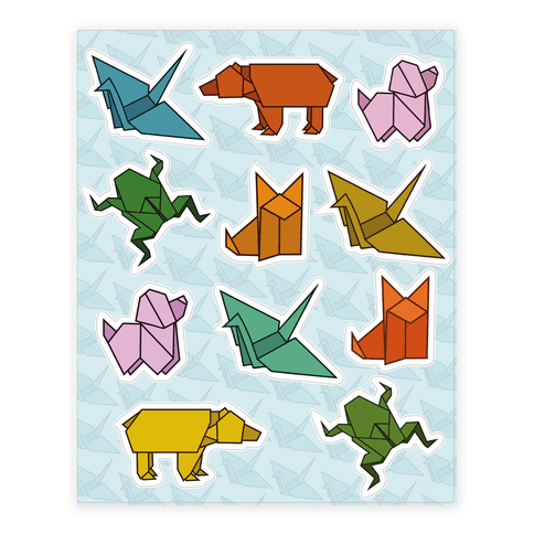 Origami Animal  Sticker/Decal Sheet