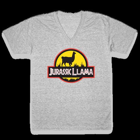 Jurassic Llama V-Neck Tee Shirt