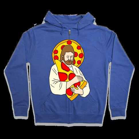 Pizza Jesus Zip Hoodie
