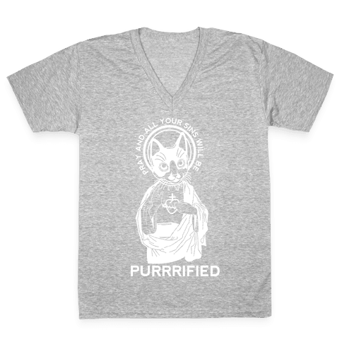 Purrrified V-Neck Tee Shirt