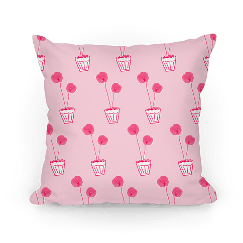 Pink Poppy Pattern Pillow