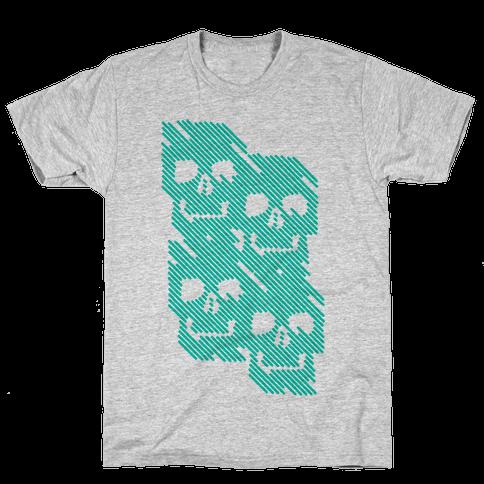 Repeating Skull Bars Mens T-Shirt